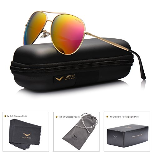 LUENX Aviator Sunglasses Polarized for Men & Women with Case - 400 UV Rose Red Pink Lens Metal Gloss Gold Frame Colored - For Sale Sunglasses Rose Colored