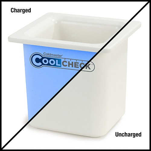Carlisle CM1105C1402 Coldmaster CoolCheck 6'' Deep Sixth-Size High Capacity Insulated Cold Food Pan, 1.7 Quart, Color Changing, White/Blue by Carlisle