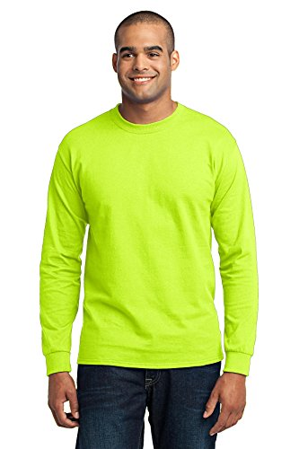 Port & Company Men's Long Sleeve 50/50 Cotton/Poly T Shirt L Safety Green