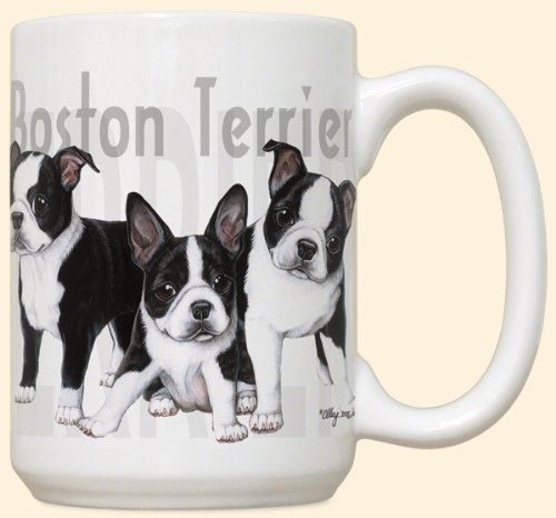Boston Terrier Puppy Puppies Large 15oz Ceramic (Terrier Large Mug)
