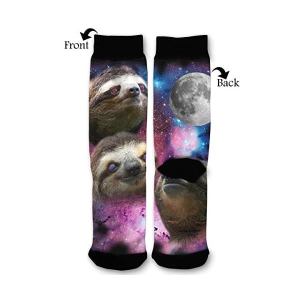 Women'S Men'S Fun Novelty Crazy Crew Socks 3 Sloth Galaxy Moon Dress Socks -