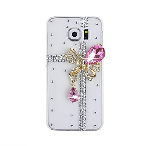 S6 Edge Case, Galaxy S6 Edge Bling Case, EVTECH(TM) 3D Handmade Fashion Crystal Rhinestone Bling Case Cover Hard Case Clear for Samsung Galaxy S6 Edge(100% Handcrafted)