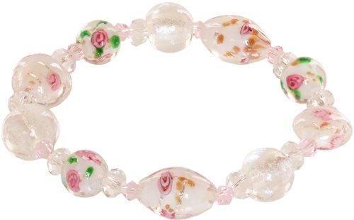 Genuine Italian Murano Glass - Ace Of Diamonds Geneva Italian Murano Glass Stretch Bracelet (White)