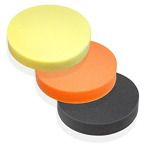 "3pc Premium 3"" Foam Polishing Buffing Pads for Power Polishers Velcro Back - German Material"