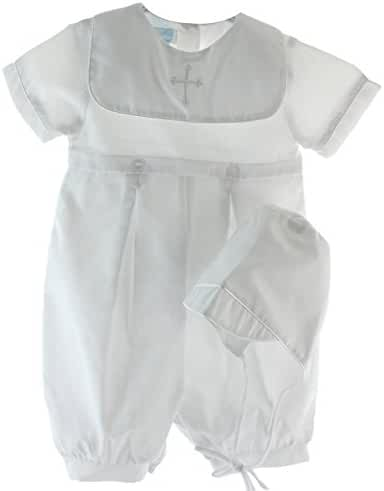 Petit Ami Infant Boys White Christening Romper Outfit Embroidered Cross Collar