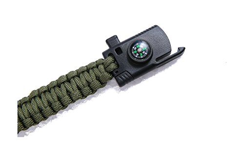 Military Outdoor Paracord Survival Bracelet 500 LB - Hiking Travelling Camping Gear Kit - Parachute Rope Bracelet - Compass,Flint Stone,Fire Sticks,Knife,Whistle