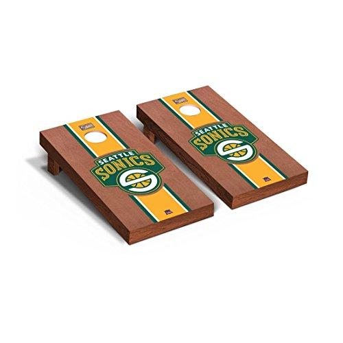 Victory Tailgate Hardwood Classics (Basketball) Seattle Sonics '07-'08 Rosewood Stained Stripe Version Cornhole Set