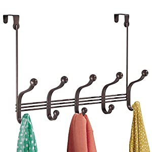 "InterDesign York Metal Over the Door 5-Hook Rack for Coats, Hats, Scarves, Towels, Robes, Jackets, Purses, 4"" x 15.6"" x 11.8"", Bronze"