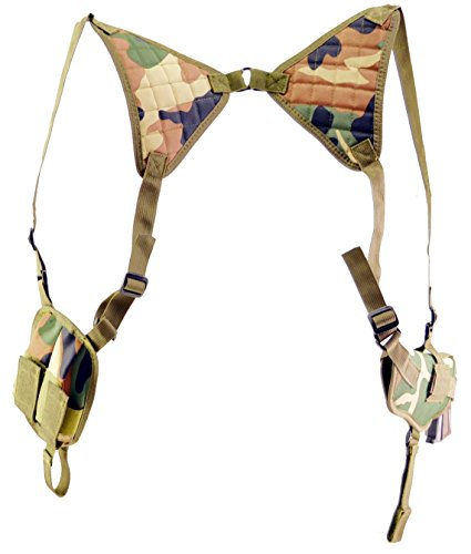 Explorer H23-WC Fully Adjustable Every Day Carry Tactical Under Arm Holster with Double Mag Carrier, Woodland (Woodland Camouflage Shoulder Bag)