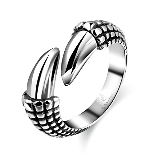 3ct Past Present Future Ring - Gnzoe Fashion Jewelry Stainless Steel Men Gothic Rings Paw Shape Size 8