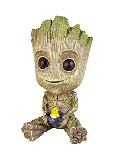 YOURNELO Cute Cartoon Treeman Baby Groot Star-Lord Multifunction Resin Pencil Holder Desk Organizer Accessories (Nest)