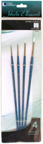 Loew-Cornell 1024917 Studio Elements Long Handle White Nylon Round Brush Set, 4-Piece