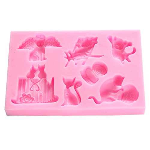 FantasyDay Halloween Cute Kitty Silicone Cake Mold Chocolate Sugarcraft Decorating Fondant Tool for Your Soap, Mini Teacake, Fondant, Candy, Ice Cube, Candy, Cookie, Gummy and More #5 for $<!--$5.98-->