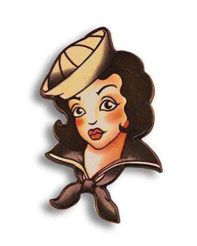 (Tattoo Sailor Girl Enamel Pin by Trixie & Milo - Retro Collectable Pin Up girl)