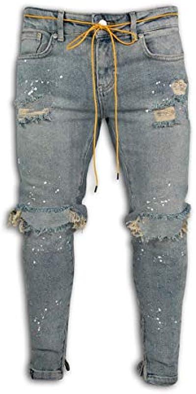 Mikely Store Męskie-Jeans, schmale Passform, elastisch, gestreift, modisch, konisch Gr. 27-32, A-Blau: Odzież