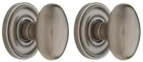Baldwin 5425.151.PRIV Egg Knob Privacy Set, Antique Nickel - Baldwin Egg