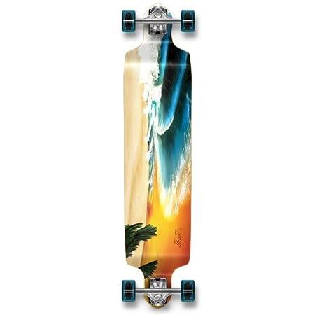 YOCAHER Professional Speed Drop Down Complete Longboard Skateboard (Beach)