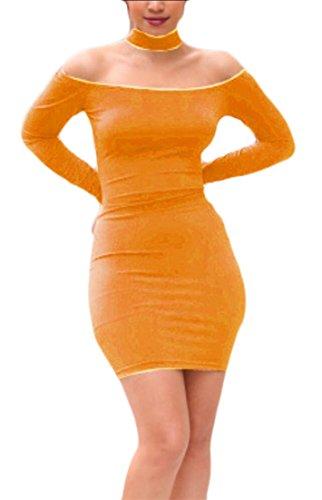 Skinny Lunghe Vestito A Sexy Delle Girocollo V Donne Bodycon Da Discoteca Festa Spalla Collo Arancione Maniche Fit Ainr Abiti qzHwSS