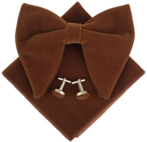 - Mens Oversized Bow Tie Tuxedo Brown Velvet Bowtie Cufflinks Hankie Combo Sets