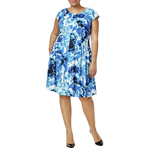 Multi Dress Print Blue Calvin Print Womens Klein Floral Boatneck Casual Floral YpqC6vRnp