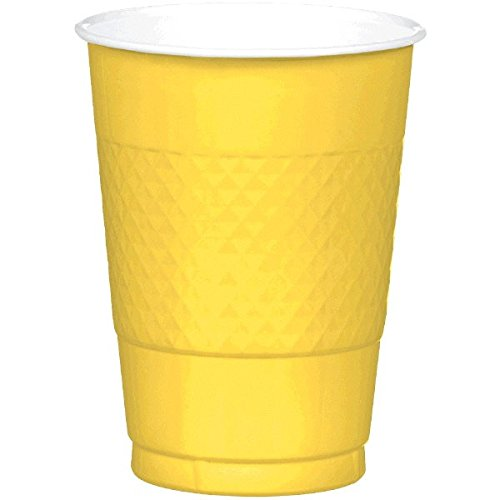 Amscan Sunshine Yellow Plastic Cups | 16 oz. | Party Supply | 200 ct.