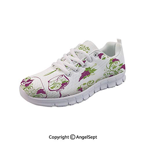 Non Slipping Shoes Bottle and Glass Grapevines Swirled Running Sneakers
