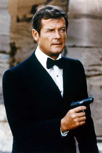 Roger Moore 24x36 Poster iconic pose in tuxedo with gun from Silverscreen