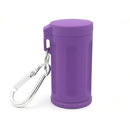 (Honoro Portable Ashtray with Lid for Outdoor,ABS Smokeless Windproof Cigarettes Ashtray with Keychain,Purple)
