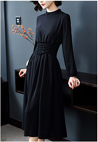 Dresses Color Solid Line Sleeve Dress A Long Black cotyledon Women`s Collared OEqwBfftx