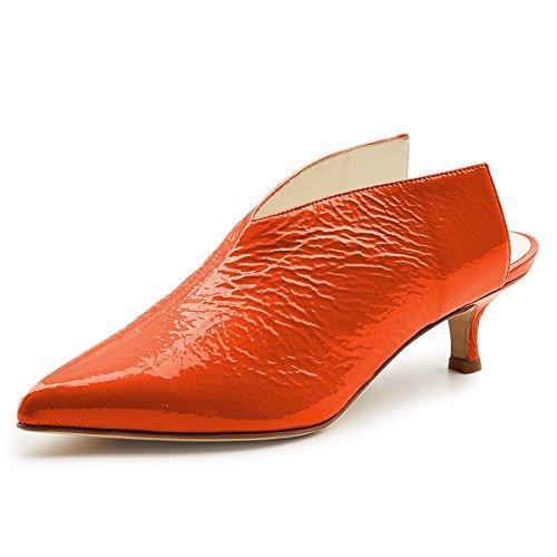 XYD Women Pointed Toe Kitten Mules Low Heels Slip On Pumps Slide Sandals Clog Shoes Orange ()