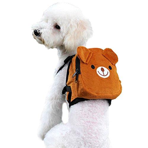 UEETEK Dog Backpack Saddlebag Adjustable Pet Harness Bag for Outdoor Travel Hiking Camping Training (Brown)