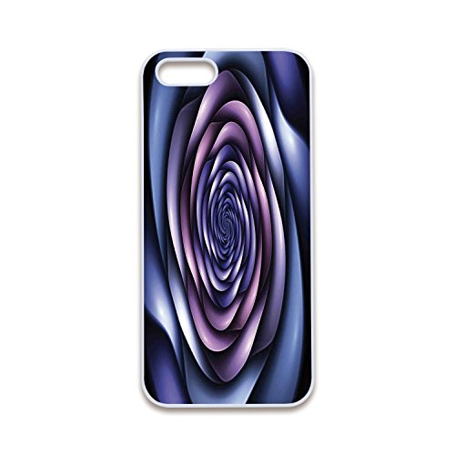 Hazy Violet - 2D Print Phone Case Compatible with iPhone5 iPhone5s White Edge,Spires Decor,Authentic Rose Petals Flower Shaped Spiral Hazy Lines New Futurist Design,Violet Purple,Customized 2D Print Phone Case