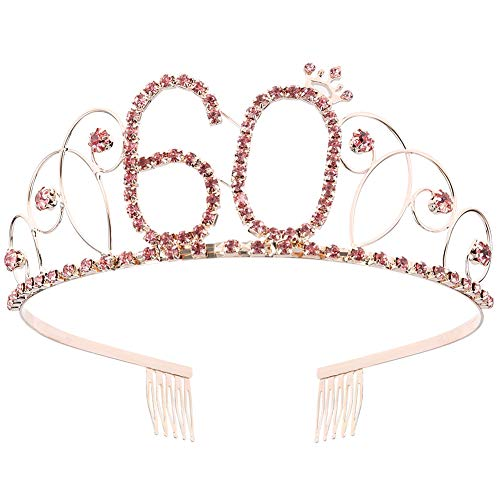 ZYXY Pink Crystal Tiara Birthday Crown Princess Crowns Hair Accessories Rhinestone Birthday Gift for Girls and Women, Happy 18/21/40/50/60th Birthday(60 Birth)