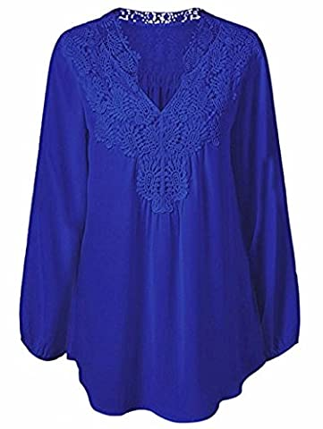 Looseplus Women's Casual Long Sleeve Plus Size Chiffon Lace Hollow Out V Neck Blouse Top (Life Vests 5x)