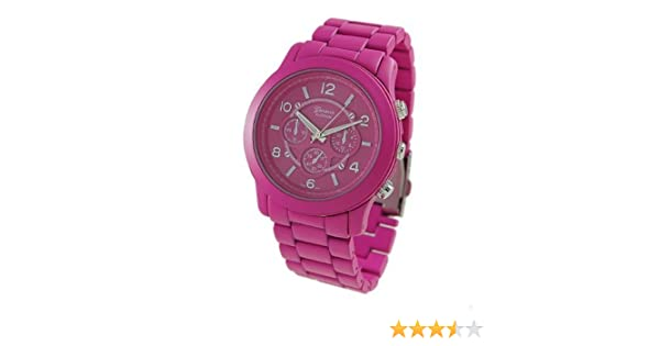 Amazon.com: Geneva Platinum 9158 Womens Decorative Chronograph-style Matte Finish Link Watch-HOT PINK: Watches