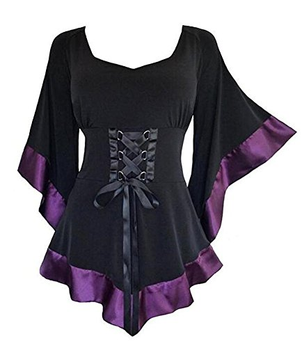 Charmeuse Lace Corset (Isher Women's Victorian Gothic Blouses Flare Sleeve Lolita Bandage Corset Top by (M, Purple))