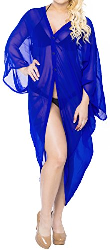 LA LEELA Chiffon Solid Spring Summer Kimono OSFM 14-28 [L-4X] Royal Blue_771 by LA LEELA