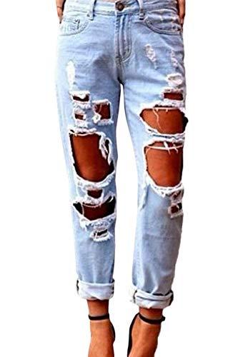 De Jeans Clair Slim Pantalon Déchirées Bleu Mode Femmes Des Chic Avec Poches La Targogo Fit Yb7fgy6