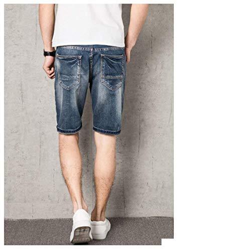 De Ropa Plus Los Hombres Pantalones E Algodón Pantalones del Agujero Dril Rasgado Hombres Los Hombres Moda De Verano Los Vaqueros Blau Ajustado De De XIxwPq8