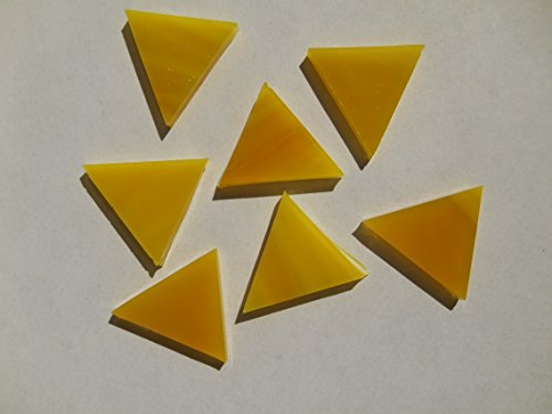 FortySevenGems 50 Pieces Yellow Stained Glass Mosaic Triangle Tiles 1 Inch