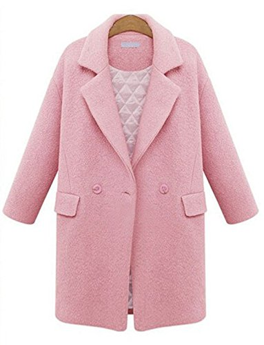 - Luodemiss Women's Winter Turn Down Collar Single Breasted Wool Blend Coat Outerwear XL Pink