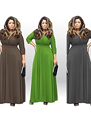 Tankoo Women's Solid V-Neck 3/4 Sleeve Plus Size Evening Party Maxi Dress