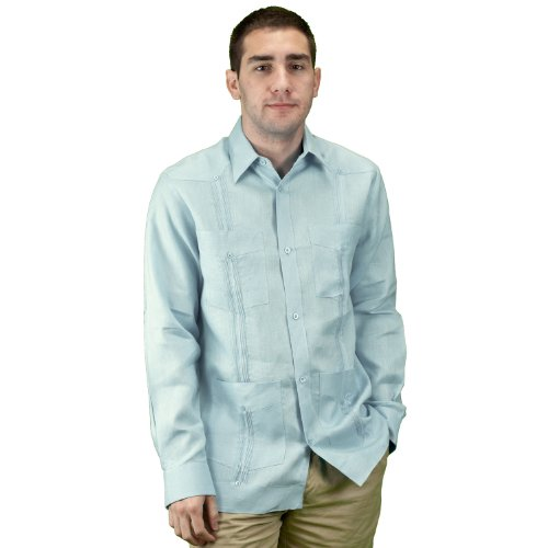 Mens mexican wedding shirt, linen guayabera shirt SIZE:XL COLOR:Bl ()