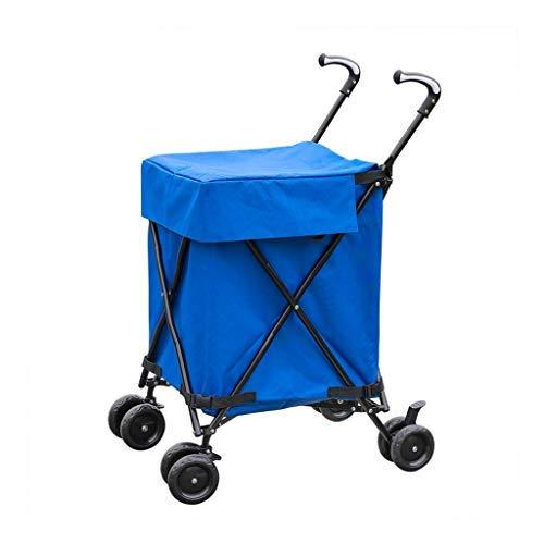 ショッピングカート、ホーム多機能ユニバーサルホイール折りたたみ屋外ベビーカーキャンピングカー収納折りたたみカート4色オプション(カラー:ブルー) B07SBVJZ9L Blue