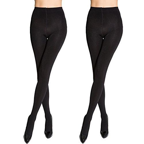 MANZI Womens 2 Pairs Super Opaque with Fleece Soft Black Tights 400 Denier