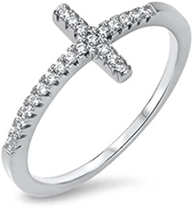 Sideway Cross Womens Sterling Silver Ring with Clear Cubic Zirconia Faith Band Sizes 4-10