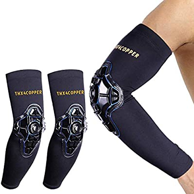 Golf Arthritis Padded Arm Forearm Guard Basketball Softball Football Workouts-Men//Women Pair Tendonitis Recovery Volleyball Thx4COPPER Compression Elbow Sleeve Protective Support for Tennis