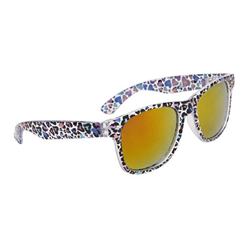 Neon Colored Rainbow Hearts Print Sunglasses w/ Various Lens Styles Mirror Black (Gold Mirrored)