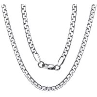 ChainsPro Width 4MM/6MM Round Box Link Chain, 18/20/22/24/26/28/30 inches, 18K Gold Plated/316L Stainless Steel/Black (Send Gift Box)