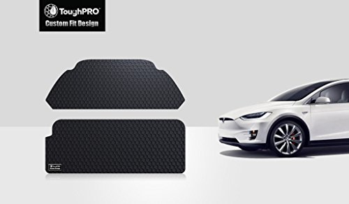 UPC 640843501830, ToughPRO Tesla Model X front Trunk & BackTrunk Mat - 3rd row In a Vertical position -All Weather - Heavy Duty- Black Rubber (2016-2017)